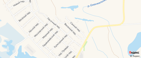 Весенний переулок на карте Еманжелинска с номерами домов