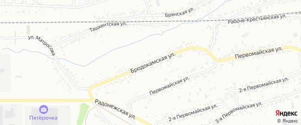 Бродокамская улица на карте Челябинска с номерами домов
