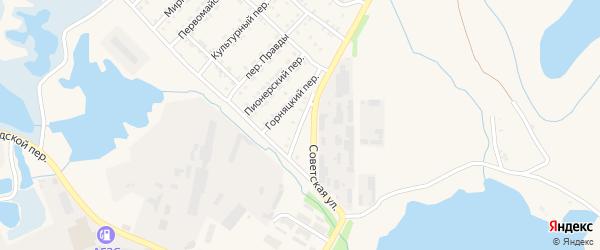 Солнечный переулок на карте Первомайского поселка с номерами домов