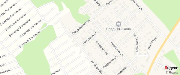 Лазурная улица на карте Долгодеревенского села с номерами домов