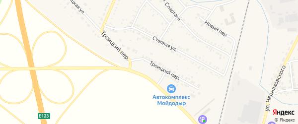 Троицкий переулок на карте Коркино с номерами домов