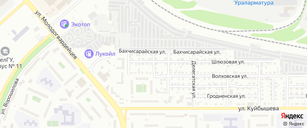 Осташковская 1-я улица на карте Челябинска с номерами домов