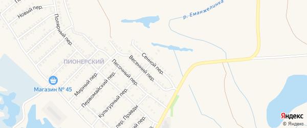 Сенной переулок на карте Еманжелинска с номерами домов