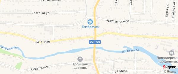 1 Мая улица на карте Долгодеревенского села с номерами домов