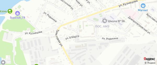 Территория ГСК 205 филиал по ул Родькина на карте Челябинска с номерами домов