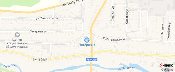 Крестьянская улица на карте Долгодеревенского села с номерами домов