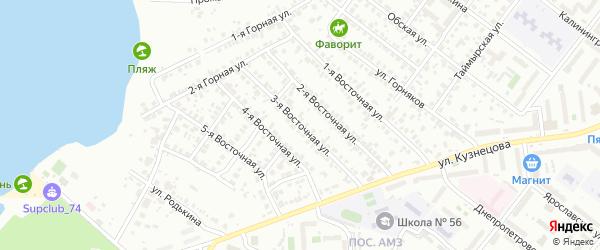 Восточная 3-я улица на карте Челябинска с номерами домов