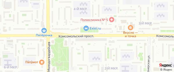 Комсомольский проспект на карте Челябинска с номерами домов