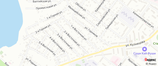 Восточная 1-я улица на карте Челябинска с номерами домов