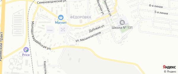 Улица Механизаторов на карте Челябинска с номерами домов