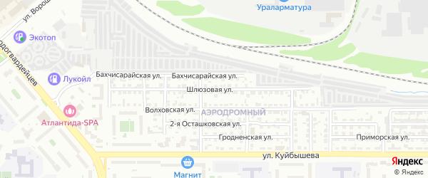 Шлюзовая улица на карте Челябинска с номерами домов