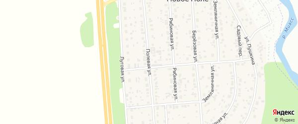Полевая улица на карте деревни Нового Поля с номерами домов