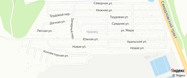 Южная улица на карте Челябинска с номерами домов