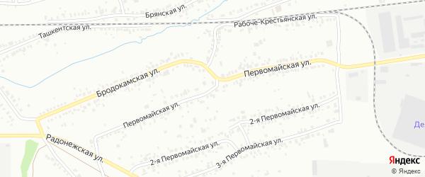 Первомайская 1-я улица на карте Челябинска с номерами домов