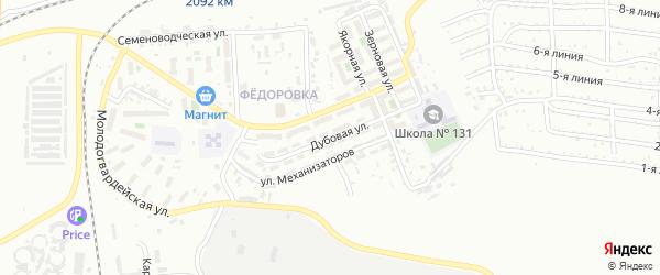 Дубовая улица на карте Челябинска с номерами домов