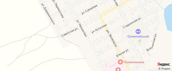 Улица Некрасова на карте Увельского поселка с номерами домов