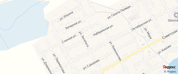 Набережная улица на карте Увельского поселка с номерами домов