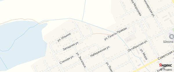 Западная улица на карте Увельского поселка с номерами домов