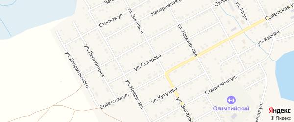 Улица Суворова на карте Увельского поселка с номерами домов