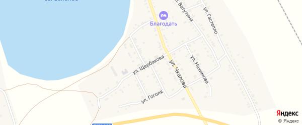 Улица Щербакова на карте Увельского поселка с номерами домов