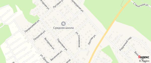 Трассовая улица на карте Долгодеревенского села с номерами домов