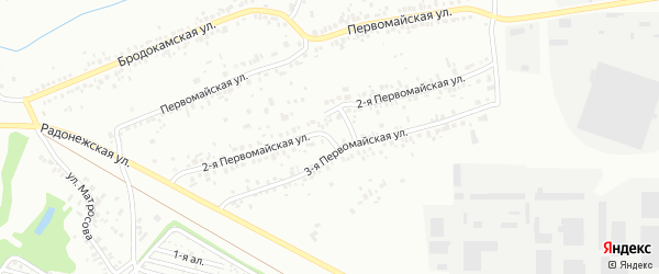 Первомайская 2-я улица на карте Челябинска с номерами домов