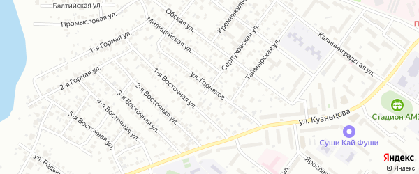 Улица Горняков на карте Челябинска с номерами домов