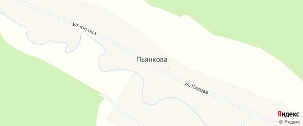 Улица Кирова на карте деревни Пьянкова с номерами домов