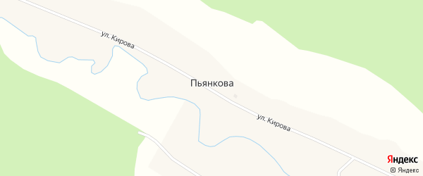 1 Мая улица на карте деревни Пьянкова с номерами домов