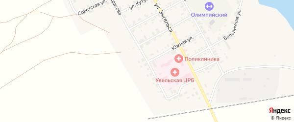 Южная улица на карте Увельского поселка с номерами домов