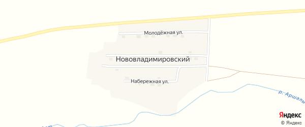 Заречная улица на карте Нововладимировского поселка с номерами домов