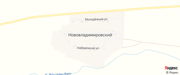 Зеленая улица на карте Нововладимировского поселка с номерами домов