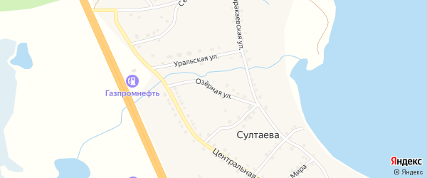 Озерная улица на карте деревни Султаева с номерами домов