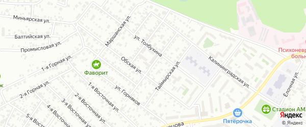 Серпуховская улица на карте Челябинска с номерами домов