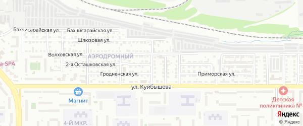 Херсонская 1-я улица на карте Челябинска с номерами домов