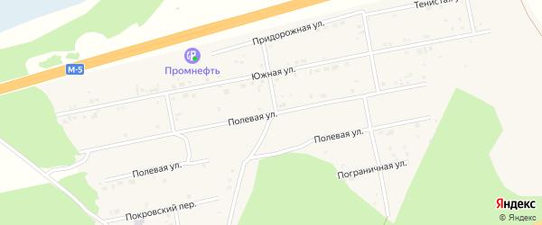 Полевая улица на карте Долгодеревенского села с номерами домов
