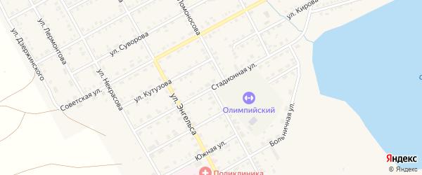 Стадионная улица на карте Увельского поселка с номерами домов