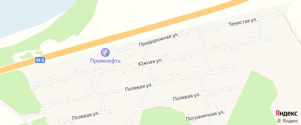 Южная улица на карте Долгодеревенского села с номерами домов