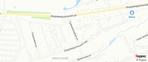 Турмалиновая улица на карте Челябинска с номерами домов