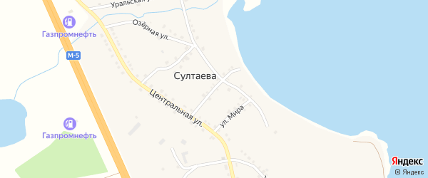 Улица Труда на карте деревни Султаева с номерами домов