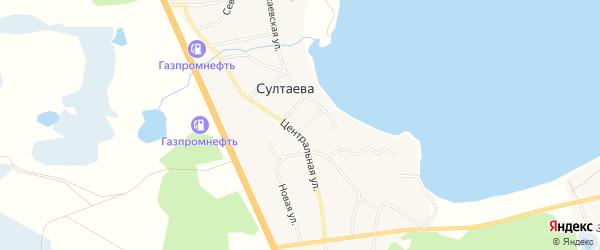 Карта деревни Султаева в Челябинской области с улицами и номерами домов
