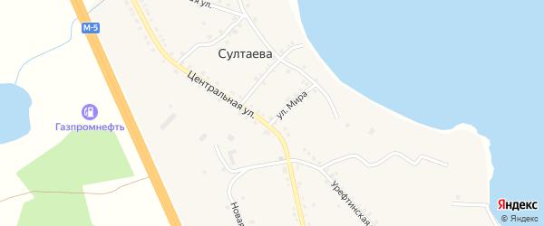 Западная улица на карте деревни Султаева с номерами домов