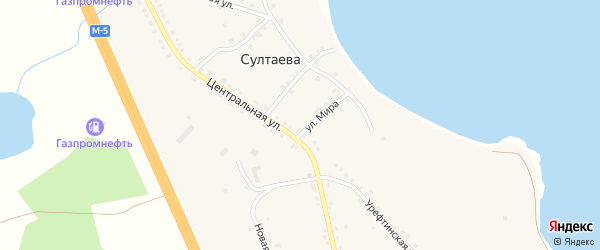 Лесная улица на карте деревни Султаева с номерами домов