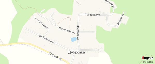 Береговая улица на карте деревни Дубровки с номерами домов