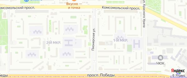 Пионерская улица на карте Челябинска с номерами домов