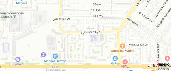 Ижевский 3-й переулок на карте Челябинска с номерами домов