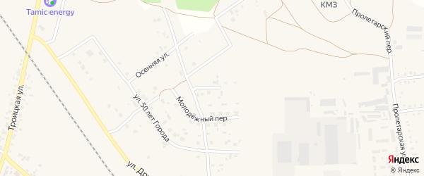 Молодежная улица на карте Дубровки - Челябинской железнодорожной станции с номерами домов
