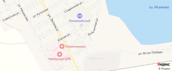 Больничная улица на карте Увельского поселка с номерами домов