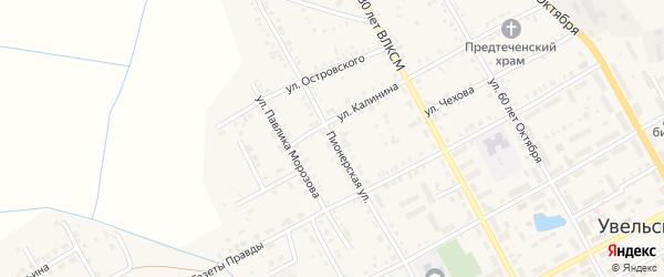 Пионерская улица на карте Увельского поселка с номерами домов