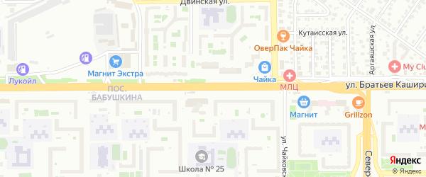 Улица Братьев Кашириных на карте Челябинска с номерами домов
